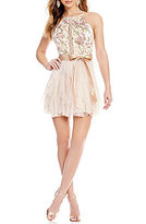 Teeze Me Embroidered Bodice Corkscrew Dress