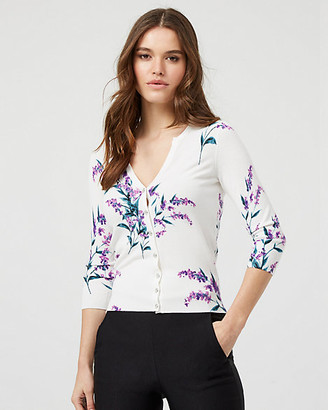 Le Château Floral Print Knit Button-Front Cardigan