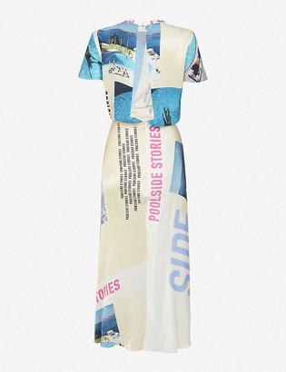 Maje Photographic-print satin maxi dress