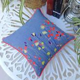 paperCutts designs Wild Flower Embroidered Denim Cushion