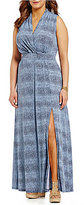 MICHAEL Michael Kors Reptile Skin Print Side Slit Faux Wrap Maxi Dress