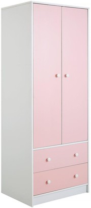 Conway 3 Piece Childrens Bedroom Package - 2 Door, 2 Drawer Wardrobe, 4 Drawer Chest and 2 Drawer Bedside Chest - Pink