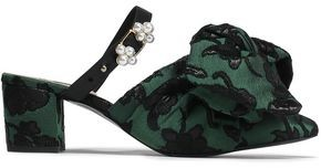 Mother of Pearl Ivy Leather-trimmed Bow-embellished Jacquard Mules