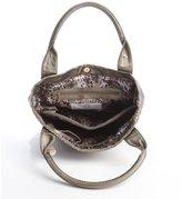 Big Buddha Gunmetal Stitched Faux Leather Top Handle Tote