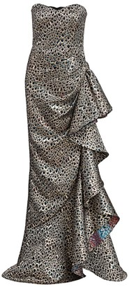Badgley Mischka Multicolor Scale Brocade Side Skirt Ruffle Mermaid Gown