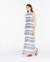 Ann Taylor Petite Striped Halter Maxi Dress