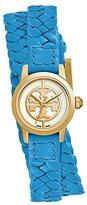 Tory Burch Reva Mini Braided Double-Wrap Watch, Blue Leather/Gold-Tone, 21 Mm