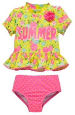 Wetsuit Club Infant Girls 2 Piece Rashguard Set Featuring A Bold Floral Design