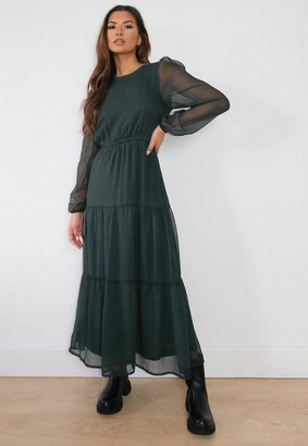 Missguided Green Pleated Smock Midi Dress