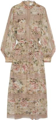 Zimmermann Fleeting Pintuck Lace-trimmed Floral-print Georgette Midi Dress