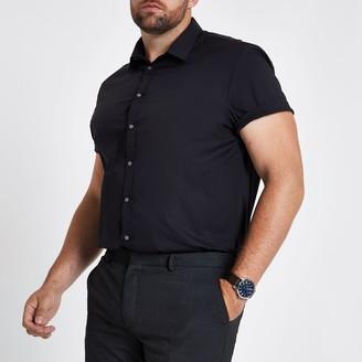River Island Mens Big and Tall Black poplin slim fit shirt