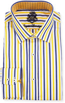 English Laundry Striped Long-Sleeve Dress Shirt, Yellow/Navy