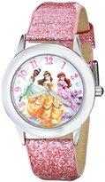 Disney Kids' W000408 Tween Glitz Princess Stainless Steel Watch With Pink Glitter Leather Band