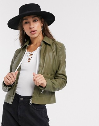 Object leather jacket with pocket details in olive