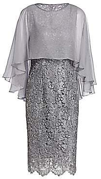 Teri Jon by Rickie Freeman Women's Sheer-Overlay Lace Cocktail Dress