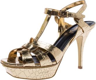 Saint Laurent Paris Metallic Gold Croc Embossed Leather Tribute Ankle Strap Sandals Size 39