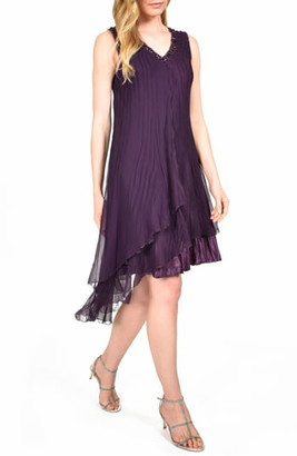Komarov Asymmetrical Ruffle Charmeuse Dress