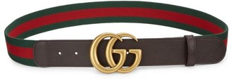 Gucci GG Leather & Canvas Belt