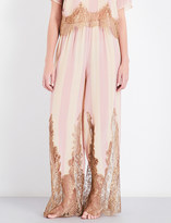 Rosamosario Striped lace-trimmed silk pyjama bottoms