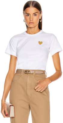 Comme des Garcons Gold Heart Emblem Tee in White   FWRD