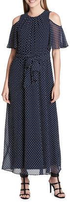 Calvin Klein Polka-Dot Ruffled Cold-Shoulder Maxi Dress