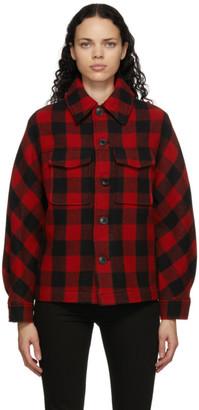 Ami Alexandre Mattiussi Black and Red Wool Check Lumberjack Jacket