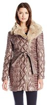 Via Spiga Women's Quilted Down Coat with Asymmetrical Zip and Faux-Fur Trim