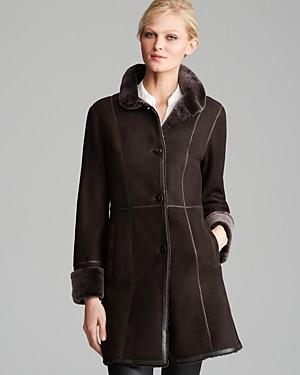 Maximilian Furs Maximilian Shearling Lamb Three Quarter Sleeve Coat with Leather Trim