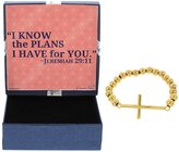 Gift Jewelry By Rachel Olevia Christan Graduation Gifts Cross Gold-Tone Stainless Steel Jewelry Bracelet Jewelry Box Keepsake I Know the Plans I Have for You Jeremiah 29:11 Graduation Gift for Christian Woman