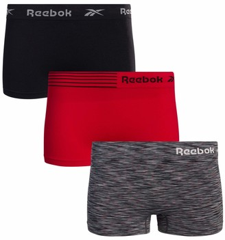 Reebok Womens Seamless Stretch Performance Boyshort Panties (3 Pack) (Dark Denim/White Stripe Melange/Violet Ice Medium)