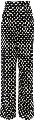 MARC JACOBS, RUNWAY Marc Jacobs Runway - Velvet Polka-dot Cotton Wide-leg Trousers - Black White