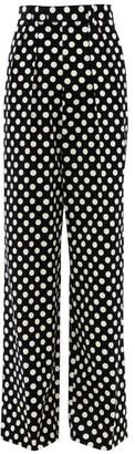 Marc Jacobs Runway - Velvet Polka-dot Cotton Wide-leg Trousers - Womens - Black White