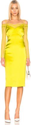 Cushnie Lace Underlay Pencil Dress in Lime | FWRD