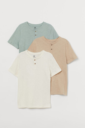 H&M 3-pack Henley Shirts - White
