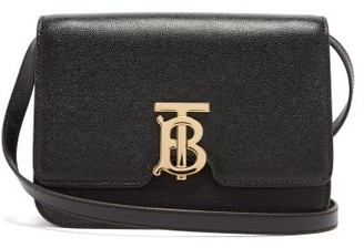 Burberry Tb Monogram Grained-leather Cross-body Bag - Black