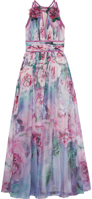 Marchesa Notte Satin-trimmed Appliqued Floral-print Chiffon Gown