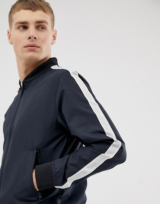 French Connection baseball arm stripe jacket-Navy