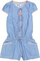 DKNY Light Wash Ruffle-Accent Romper - Toddler & Girls
