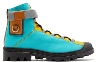 eye/LOEWE/nature Panelled Leather And Canvas Hiking Boots - Light Blue