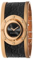 Gucci Twirl Pink Goldtone PVD Stainless Steel & Leather Bangle Bracelet Watch
