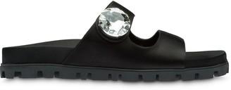 Miu Miu Satin Crystal-Embellished Sandals