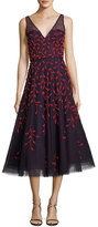 Oscar de la Renta Embroidered Vine Sleeveless Cocktail Dress, Blue/Red