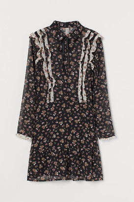 H&M Ruffled Chiffon Dress
