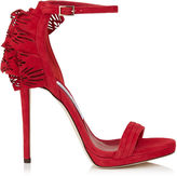 Jimmy Choo KELLY 120 Red Perforated Suede Sandals