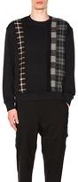 3.1 Phillip Lim Crewneck Sweatshirt with Plaid Stripe Panels in Black,Checkered & Plaid.