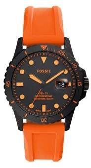 Fossil FB-01 3-Hand Gunmetal-Tone Stainless Steel & Silicone-Strap Watch
