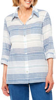 Alfred Dunner Indigo Girls 3/4 Sleeve Button-Front Shirt