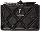 Marc Jacobs Black Quilted Softshot Top Zip Multi Wallet