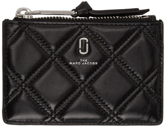 Marc Jacobs Black Quilted Softshot Top Zip Multi Wallet