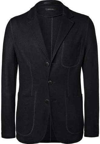 Giorgio Armani Navy Slim-fit Cashmere Blazer